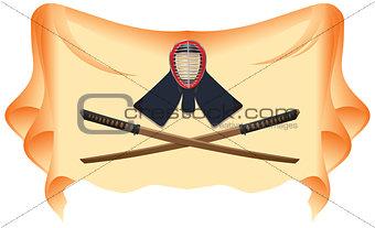 Crossed Samurai wooden swords