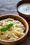 Farfalle pasta with alfredo sauce