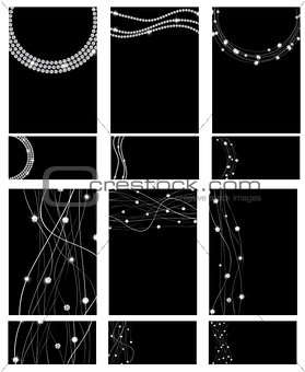 Abstract Luxury Black Diamond Business Card Set Templates Vector