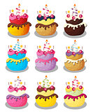 Happy Birthday Cake with Numbers Set Vector Illustration