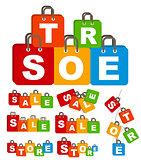 Sale Bag Concept of Discount Set. Vector Illustration