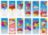 Color Glossy Happy Birthday Balloons and Cake Banner Set Backgro