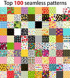 Big Collection, Set of 100 Top Seamless Pattern Backgrounds. Vec