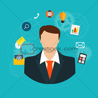 Business Management Concept in Modern Flat Style Vector Illustra