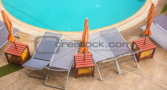 top view of beautiful swimming pool