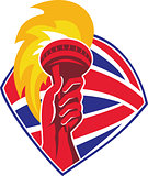 Hand Flaming Torch Bristish Flag Retro