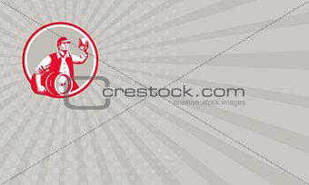Business card American Worker Keg Toast Beer Mug Circle Retro