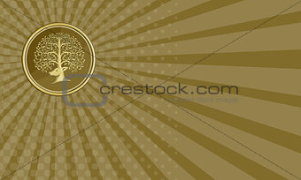 Business card Deer Head Tree Antler Gold Coin Retro