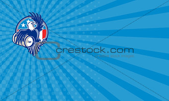 Business card American Bald Eagle Beer Keg Flag Circle Retro
