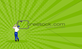 Business card Golfer Swinging Club Circle Cartoon