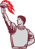 Spanish Conquistador Raising Up Torch Retro