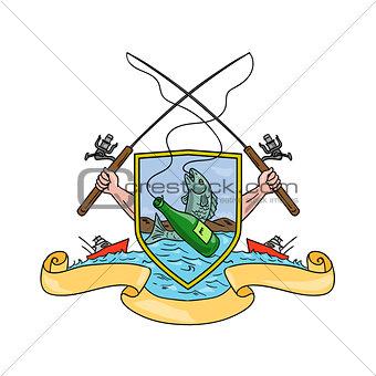 Fishing Rod Reel Hooking Fish Beer Bottle Coat of Arms Drawing