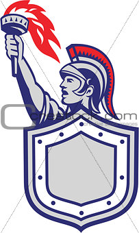 Greek Warrior Shield Holding Up Torch Retro