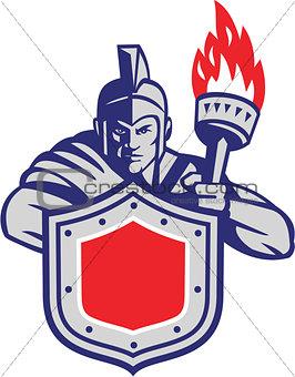 Greek Warrior Shield Torch Retro