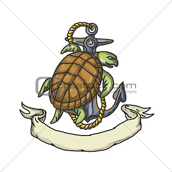 Ridley Sea Turtle on Anchor Drawing