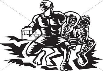 Tiitii Wrestling God of Earthquake Woodcut