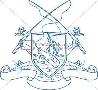 Fishing Rod Reel Hooking Blue Marlin Beer Bottle Coat of Arms Drawing