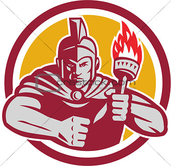 Greek Warrior Torch Circle Retro