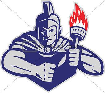Greek Warrior Holding Flaming Torch Retro