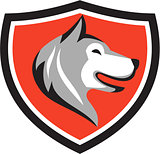 Husky Dog Head Shield Retro