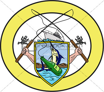 Fishing Rod Reel Blue Marlin Beer Bottle Coat of Arms Oval Drawing