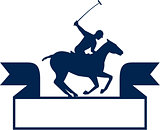 Polo Player Riding Horse Ribbon Retro