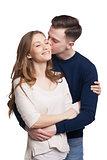 Hugging couple kissing