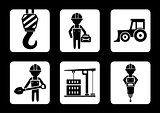 set of builder and construction equipment icons