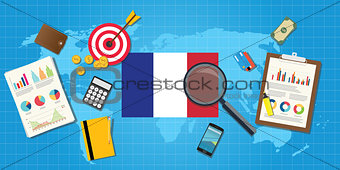 france economy economic condition country with graph chart and finance tools vector graphic