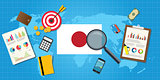 japan economy economic condition country with graph chart and finance tools vector graphic