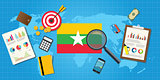 myanmar economy economic condition country with graph chart and finance tools vector graphic