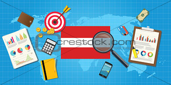 austria economy economic condition country with graph chart and finance tools vector graphic