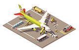 Vector isometric low poly airport apron with airplane, Ground Support Equipment and vehicles