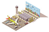 Vector isometric low poly airport terminal building with airplane and Ground Support Equipment