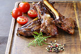 Grilled lamb chops steak with pepper and rosemary