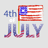 Independence Day of USA. American Flag 4 July