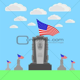 Flag of America Flying over Gravestone.