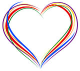 LGBT heart symbol. Sign of heart outline. Rainbow heart for greeting card for Valentines Day