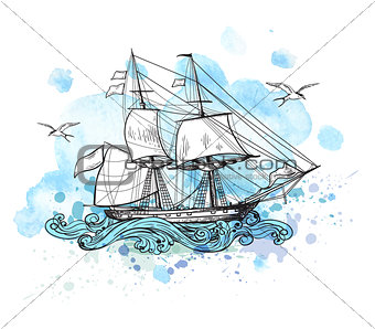 Background with sailing vessel