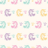Seamless Pattern with Unicorns, Fantasy, Fairytale