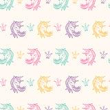 Seamless Pattern with Unicorns, Fantasy, Fairytale