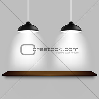 Black ceiling lamps with shelf template