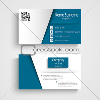Business card with blue white effect design template