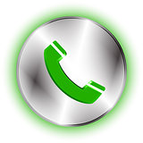 Futuristic phone handset icon on circle metallic base