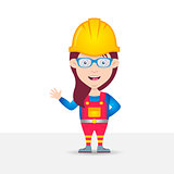 Female construction worker cartoon character