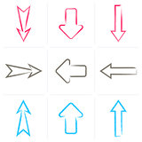 Colorful vector hand drawn arrows