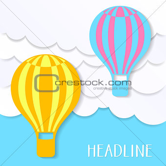 Card with clouds and balloons