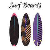 Surfboard vector colorful set. Surfing boards summer water sport.