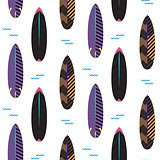 Surfboard seamless vector pattern. Black and purple striped boards on white.