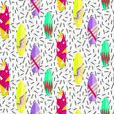 Surfboard seamless vector pattern. Colorful boards in memphis 80s style.